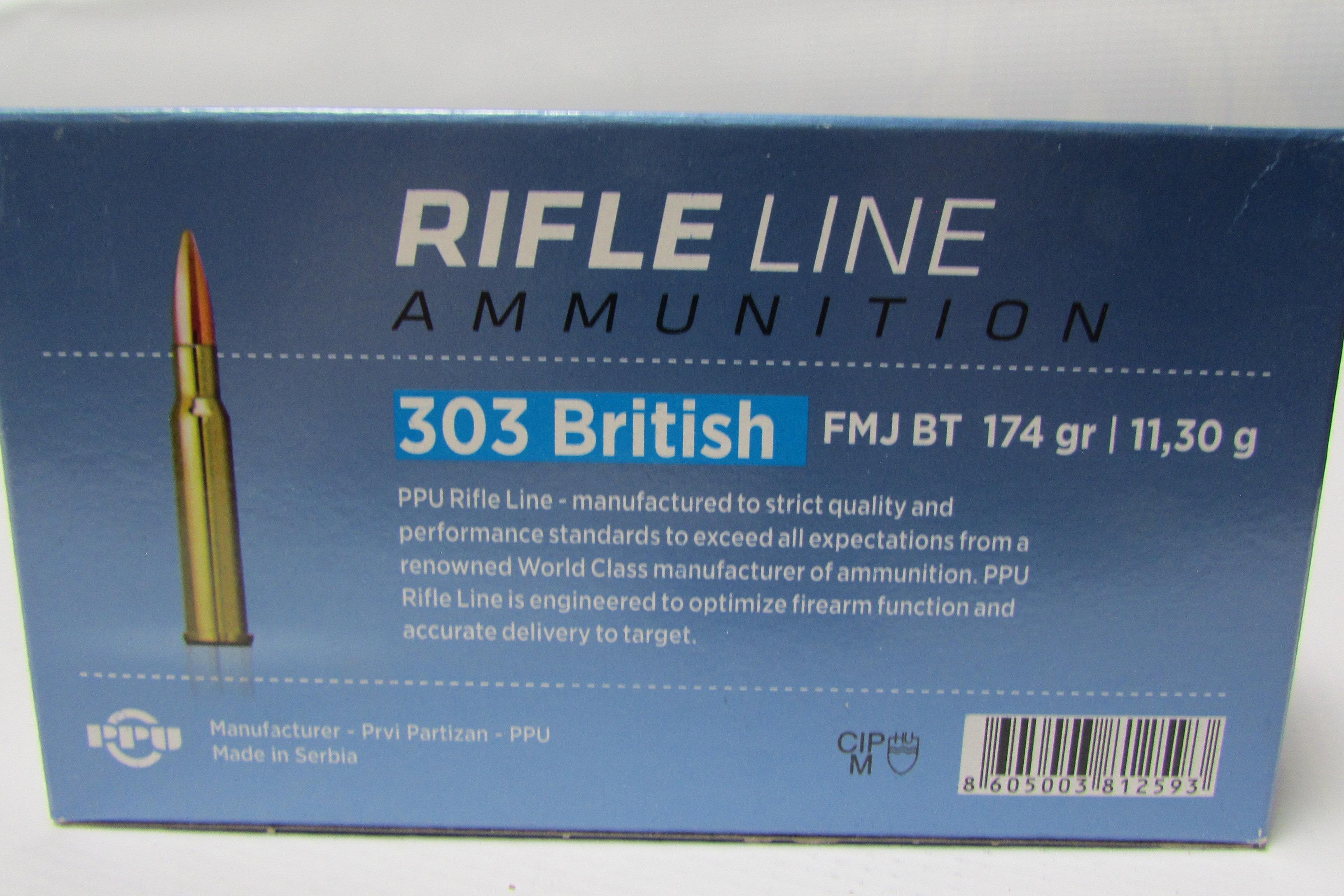 303 British PPU 174gr FMJ 20 Round Box