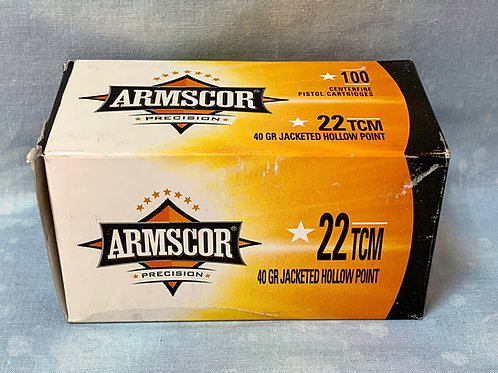 .22 TCM  Armscor 40gr JHP 100 Round Box