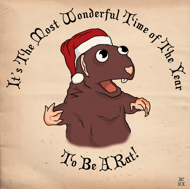 Ratty The Pandemic Rat, Christmas Card