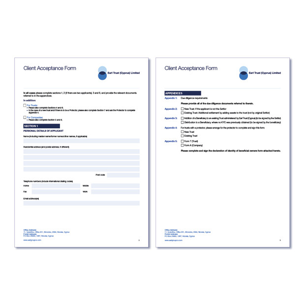 Earl Cyprus Interactive Forms