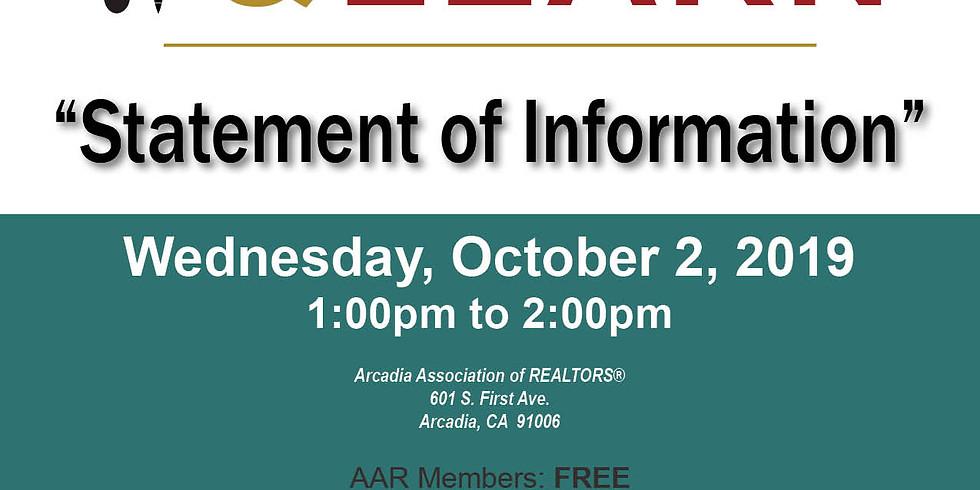 AAR Lunch & Learn - Statement of Information