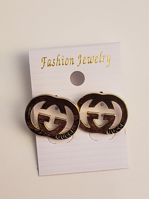 Gold gucci stamp earrings