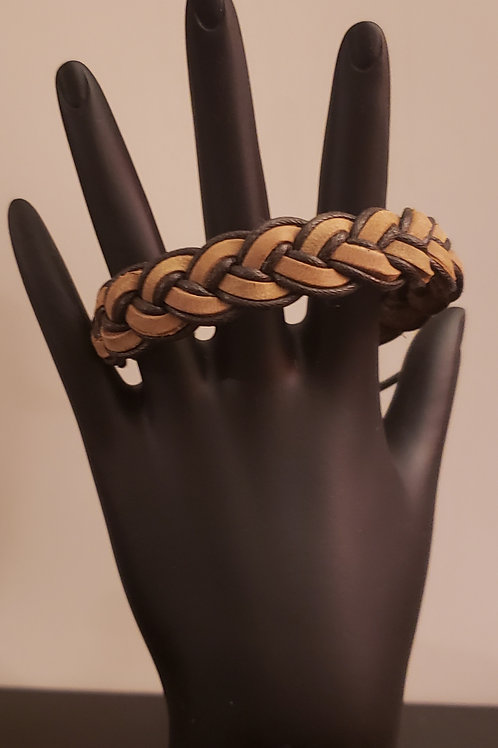 Brown Braided Adjustable Mens Arm Wear