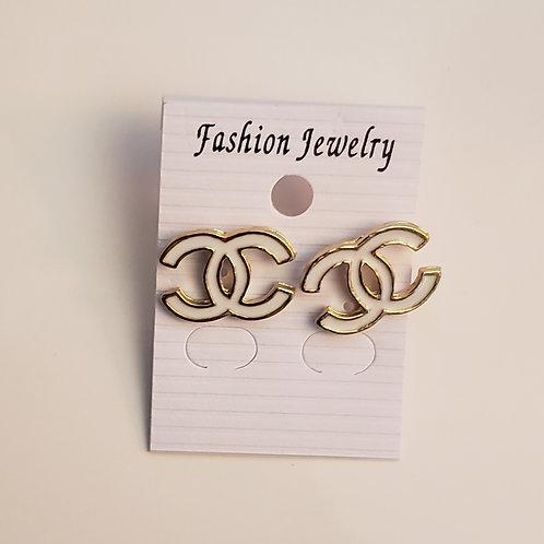 Chanel Inspired Earrings white/gold