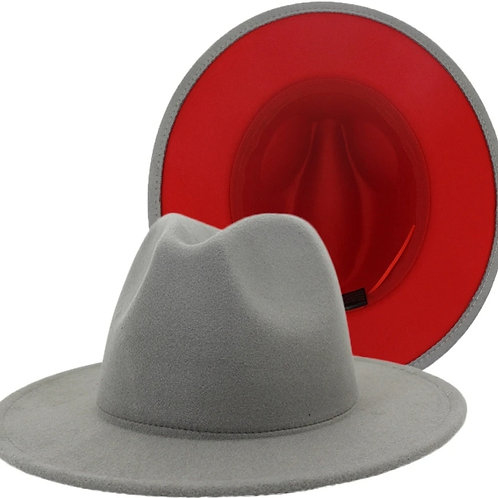 Accent My Vibe - Grey/Red Fedora