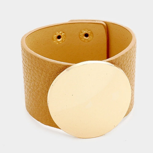 Gold Leather Strap Bracelet