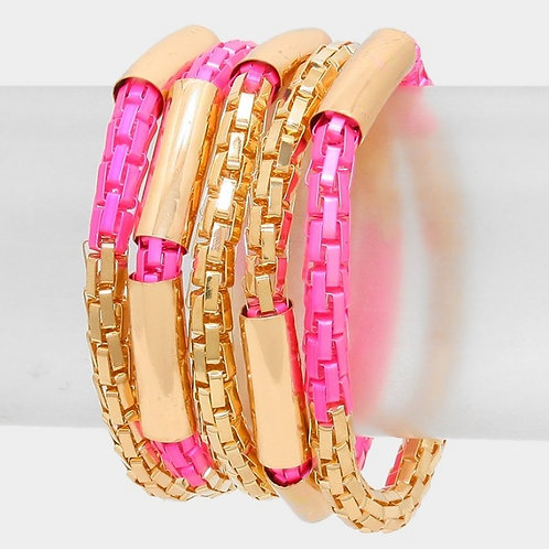 Pink/gold Stretch Bracelet