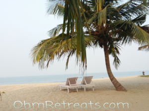 New Year in Kerala December 2018 - two loungers under a palm tree on the beach