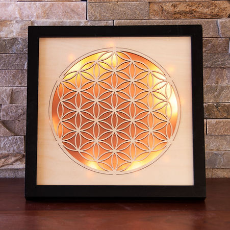 Flower of life ambience lightout of wood