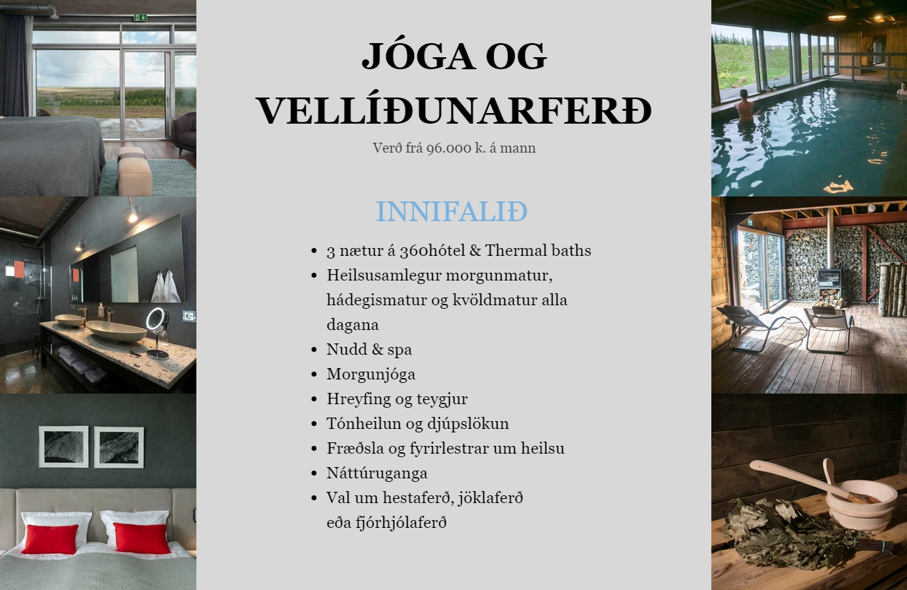 jóga & vellíðunarferð - 360 hótel m verð