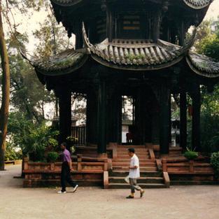 Pagoda mindful walk at a mountain monastery.