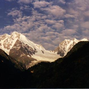 Snowcapped  monastery view.