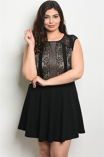 Black and Tan Knee Length Dress