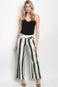 White and Black Stripe Pants