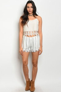 Ivory and Charcoal Shorts