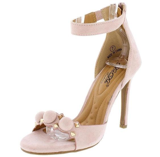 Pink Pom Studded Ankle Strap Heel