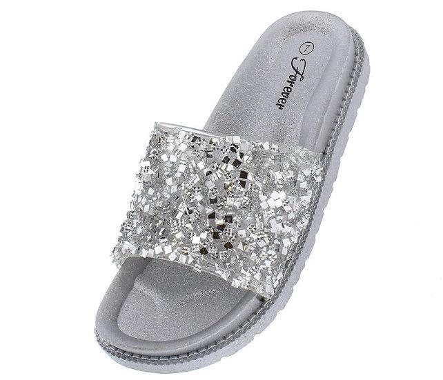 Silver Sparkle Mule Sandal