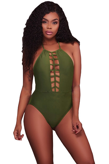 Army Green Caged Front Halter One Piece Swimsuit