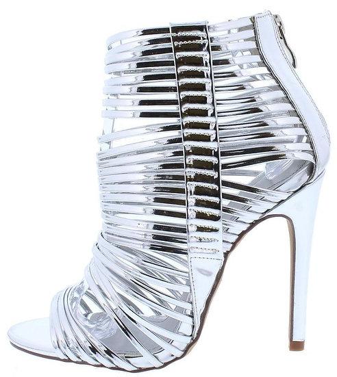 Silver Strappy Stilettos