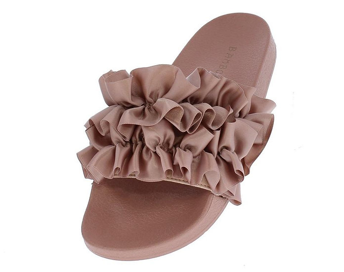 Mauve Satin Ruffle Mule Sandal