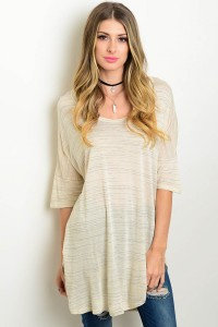 Beige Loose Fitted Tunic
