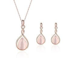 Pearl White Rose Gold Jewelry Set