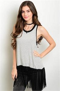 Black and White Stripe Tasseled Top