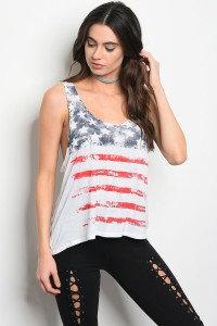 American Flag Printed Top