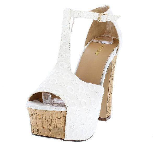 White Embroidered Cork Platform Heels