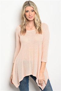 Peach Quarter Sleeve Top