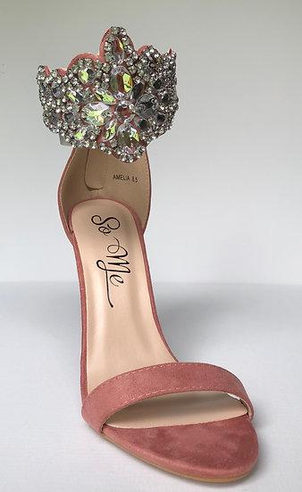 Blush Rhinestone Ankle Strap Heels