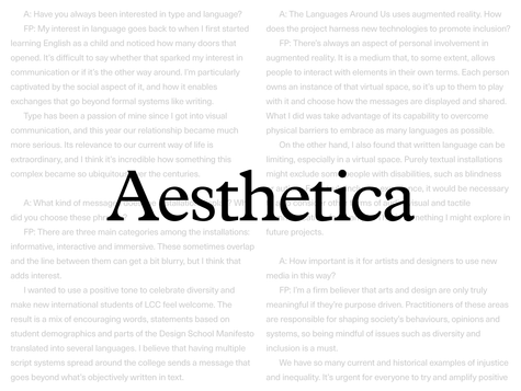 Aesthetica Interview