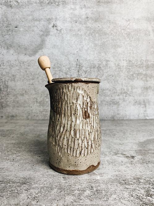 carved honey pot