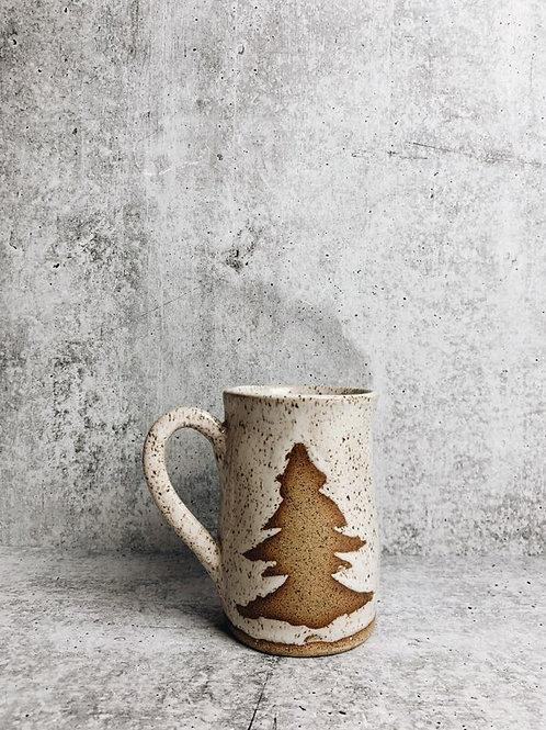 rustic winter evergreen mug