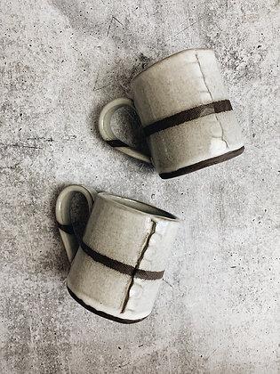 white strip mug
