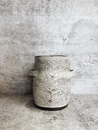 white wash fern utensil holder