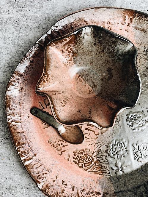 dusty rose peony platter set
