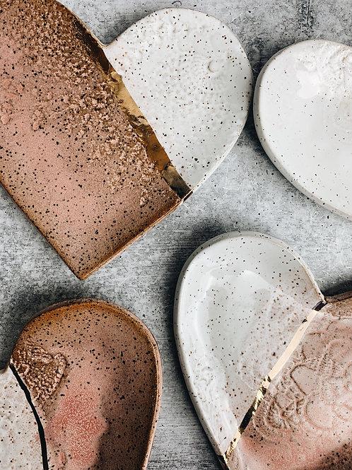 gold heart plates