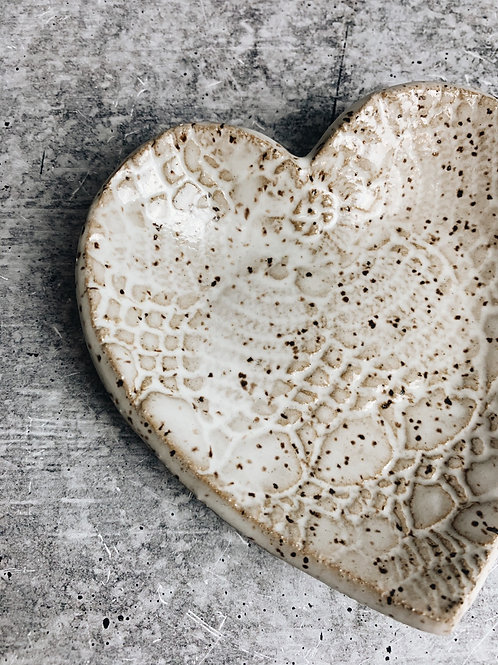 white speckle heart dish