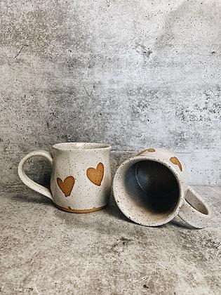 simple white heart mug