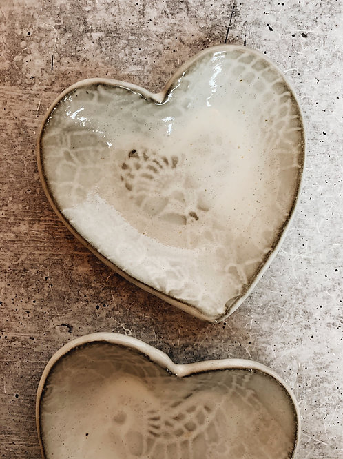 simple white lace heart