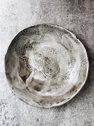 white wash lace shallow bowl