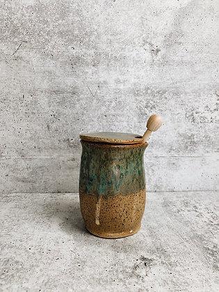sea glass honey pot