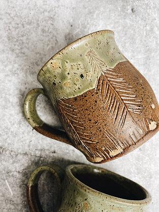 forest floor carved tree mug