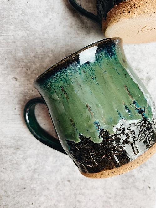 northern lights speckle mugs