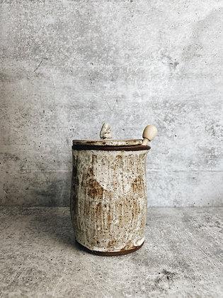 birch carved honey pot