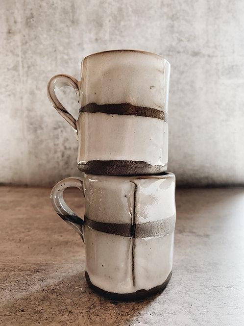 white strip mini mugs