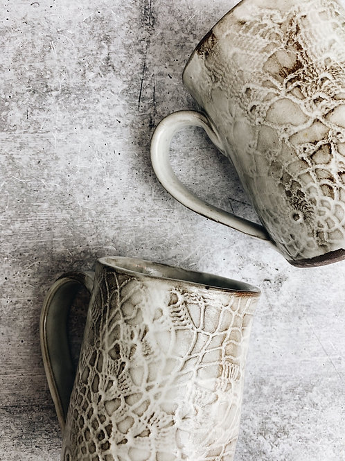 white wash lace mug