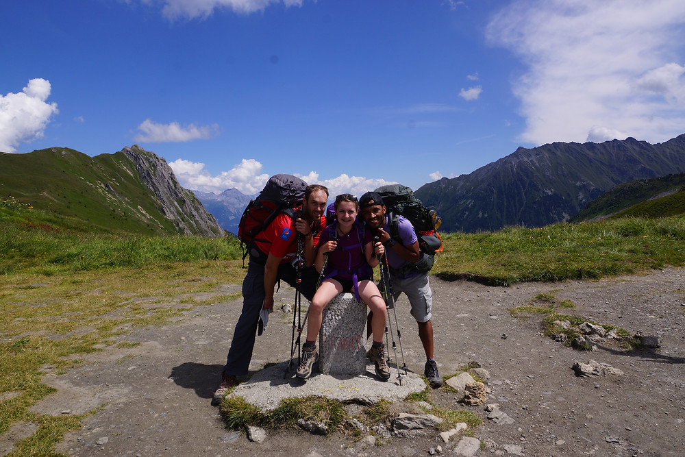 "Group picture ""Kids in the Canyon"" on Tour du Mont Blanc"