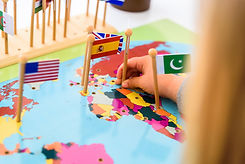 Geography exercise for children, place flags of countries on a map, flag of Spain..jpg